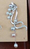 ●アコヤ真珠越し物<生玉><BaroqueShape>7.75-8mm×2コ池蝶真珠×7個<Button&OvalShape>1cm〜3cmW環内径1mm(脱着可)SVブローチ<百合Swing>【値ごろ感】
