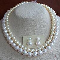 ●丁度の段差2連<RoundShape>真珠の黄金対比●アコヤ真珠越し物<NaturalGold・調色>6.5-7mm×1アコヤ真珠越し物<ホワイトピンク>9-9.5mm●アコヤ真珠越し物ペア<ホワイトピンク>6.75-7mm/9-9.5mm<百合Swing>