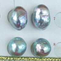 ●アコヤ真珠越し物<ルース>無穴<Natural濃いブルー>【虹色の渚】<Topquality><SemiBaroqueShape>9.25-9.5mm(横幅)×2個直結orブラ<TitanPiace><ExcellentSpecial>SVEGK14WGピアスなどはオプション。選択くださいせ。