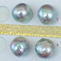 ●アコヤ真珠越し物<ルース>無穴<Natural濃いブルー>【虹色の渚】<Topquality><SemiBaroqueShape>9.5-10mm(横幅)×2個直結orブラ<TitanPiace><ExcellentSpecial>SVEGK14WGピアスなどはオプション。選択くださいせ。