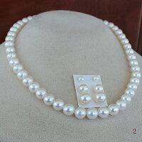 ●アコヤ真珠越し物<ホワイトピンク>7.5-8mmNecklace&アコヤ真珠越し物<ホワイトピンク>4.5-4.75mm×2コ/7-7.25mm×2コ/8.5-9mm×2コ<TitanPiace>直結orブラ<百合Swing>※K14WGorSVイヤリングはオプション。