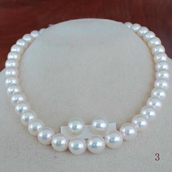 ●アコヤ真珠越し物<Top quality>9.5-10mm Necklace&9.75-10mmペア K14WG ピアス直結 or SVイヤリングネジバネ直結