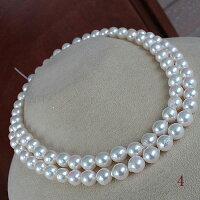 ●アコヤ真珠越し物<ホワイトピンクの彩り><SemiRoundShape>8-8.5mm90cm〜Necklace