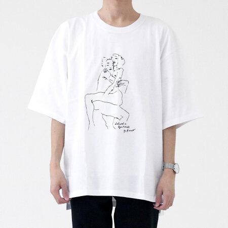 KLONdedicatedtoEgonSchiele01WHITE,Tシャツ半袖カットソー白メンズレディースクローン2020春夏プリントオーバーサイズMLアートブリントモノトーン