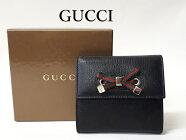 グッチ【GUCCI】シェリーリボン 二つ折り財布 ブラック レザーNEW 新品未使用品(中古)