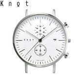 """Knot(ノット)""""クラシック クロノグラフ""""シルバー & ホワイト時計本体のみ(ベルト別売り)腕時計/メンズ/レディース/サファイアガラス/日本製/MADE IN JAPAN/送料無料"""