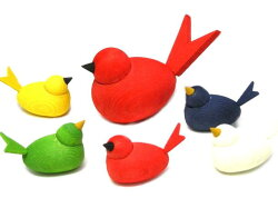 ★ラッセントレー☆お得な親子鳥セットカラフルな小鳥の置物/オブジェ木製置物【LarssonsTra】☆北欧雑貨★【クロネコDM便不可】