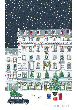 ロンドン クリスマスショッピング ナイトシリーズ キッチンタオル コットン キッチンクロス かわいい おしゃれ ティータオル タペストリー デザイナー JESSICA HOGARTH イギリス雑貨 お部屋のインテリア