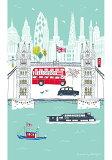 発送は郵便で! ロンドン ブリッジ London Bridge キッチンタオル コットン キッチンクロス かわいい おしゃれ ティータオル タペストリー デザイナー ジェシカホガース JESSICA HOGARTH イギリス雑貨 お部屋のインテリア
