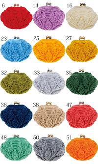 ハマナカリーフ柄の引き上げ編みがま口着分セット(ピッコロ1玉・編みつける口金1個・編図)