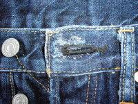 ジーンズ【トップボタンホール】リペア・ボタンホール修理・ダメージ・たたき縫い