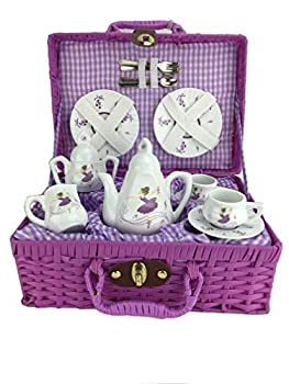 【中古】Delton - Porcelain Tea Set in Basket Purple Dancer画像