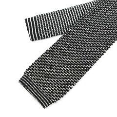 Ascot Silk Knit Tie: Black / White
