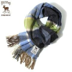 Hilltop Wool Angora Scarf: Green / Blue