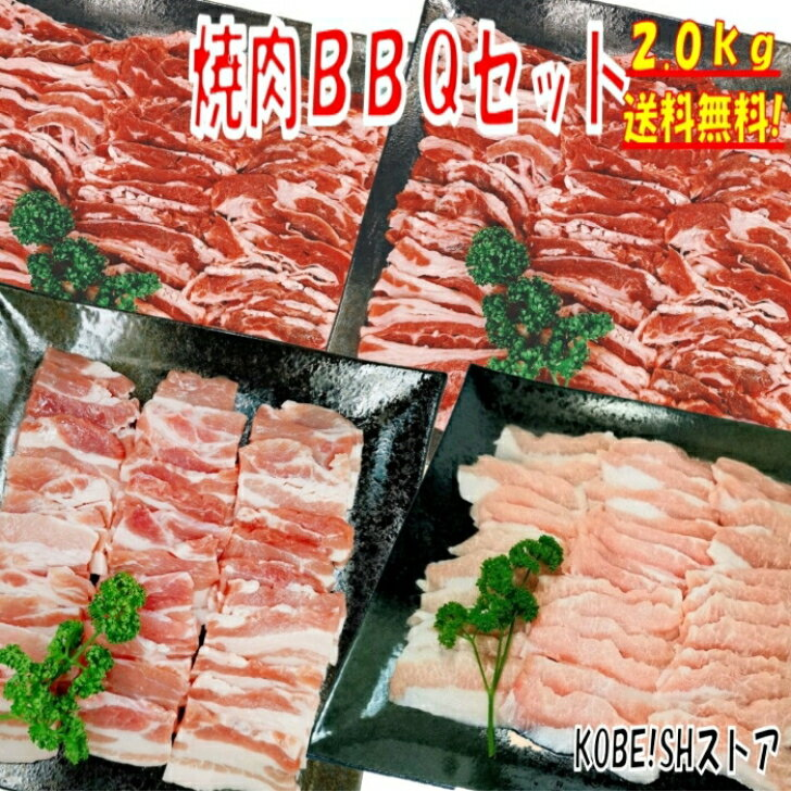 【6月1日10%OFFクーポン配布中!】焼き肉バーベキュー食材2kgBBQ肉焼肉セット牛カルビ牛バラ豚カルビ豚バラバーベキュー肉バーベキューセット食材BBQ食材セットホームパーティー焼肉豚トロ豚肉牛丼牛肉送料無料6〜8人前