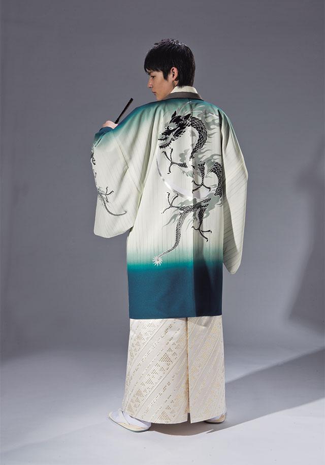 【レンタル】男紋付袴 羽織袴フルセット「縁-enishi-」ぼかしにドラゴン(龍)【成人式】【貸衣装】【送料無料】175cm前後対応