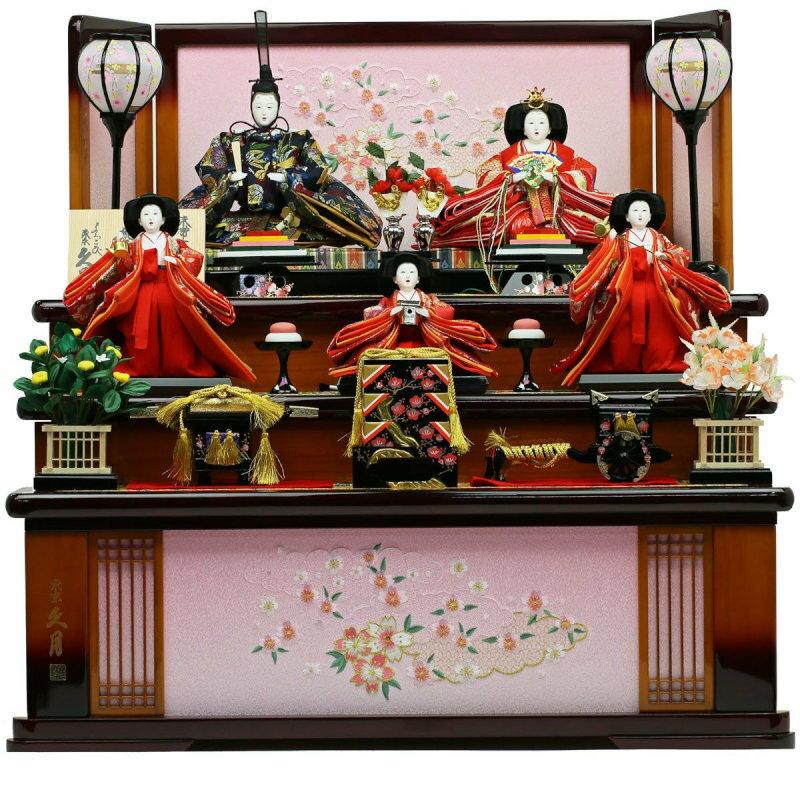 人形の久月-十二単雛 -三段収納飾り