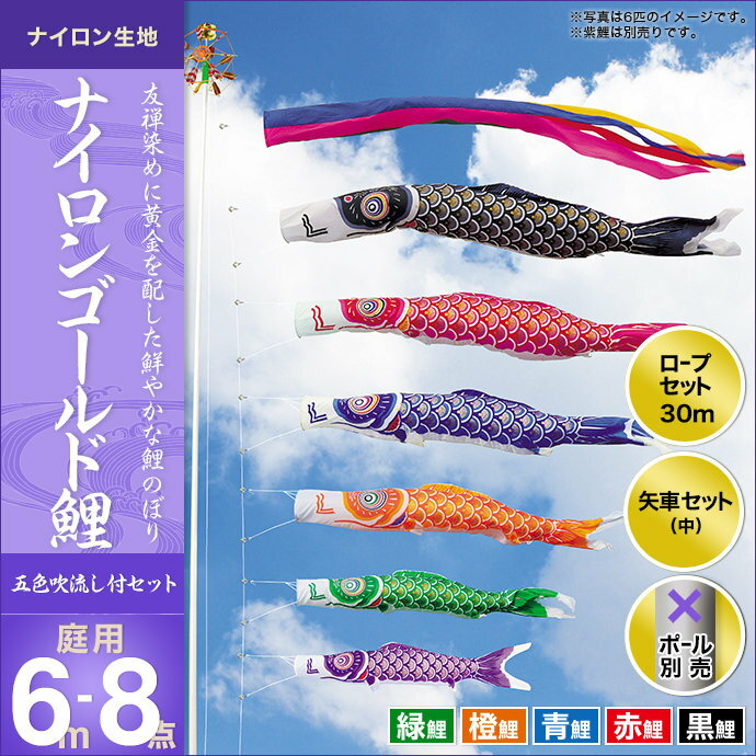 ナイロンゴールド鯉(五色吹流し)-6m 5匹8点セット