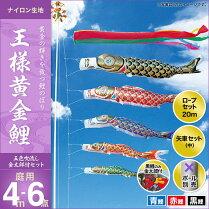 王様黄金鯉(五色吹流し)金太郎付き-4m-3匹6点セット