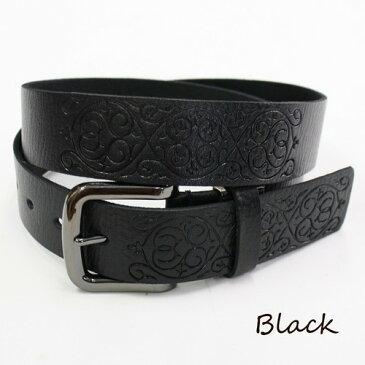 【送料無料】ベルト メンズ レディース カジュアル レザーベルト 牛革 サイズ調整OK! MEN'S Belt LADY'S Belt ブラック
