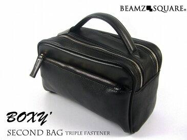 セカンドバッグ メンズ 革 ブランド BEAMZSQUARE 牛革製BOXYスタイルセカンドバッグ 正規品 BS-2405 BK
