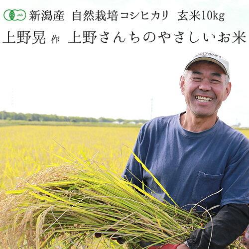 有機JAS認証 新潟県産 コシヒカリ「上野さんちのやさしいお米」 玄米 10kg (...