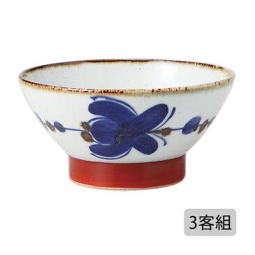 食器 器 碗 茶碗 セット 3客組 おしゃれ 可愛い くらわんか 波佐見焼 陶器 日本製錆花つなぎ くらわんか碗 (中) 3客組 12830