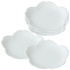 桜 取皿 小皿 セット 5枚 お洒落 ホワイトお茶菓子 さくら シンプル 日本製 白 桜型取皿 72820