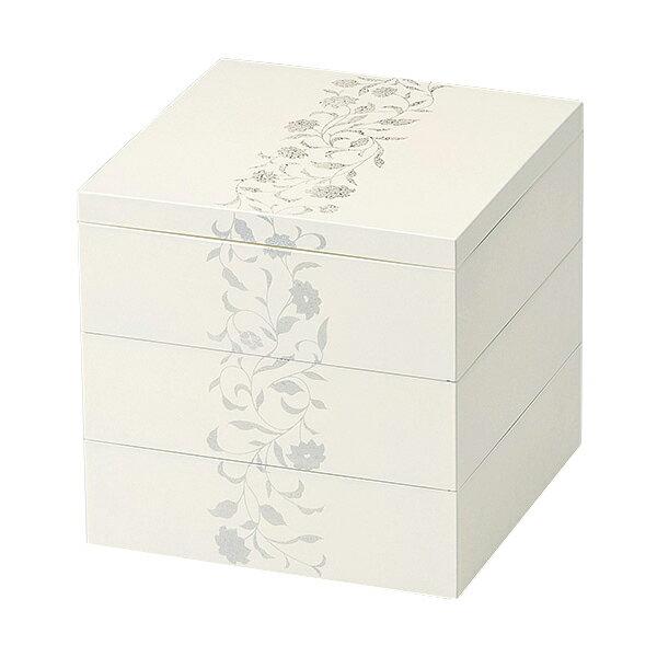 重箱 お重 おせち おしゃれ 白 四角 木製 日本製 越前漆器 上品 定番 漆器 高級 正月 弁当 菓子器 アールデコ 5.5寸三段重箱 ホワイト 1015103