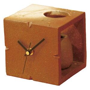 信楽焼 時計 置時計 Clock 一輪挿し 花瓶 人気 癒し インテリア 高級 シック 素朴 日本製 レッドキューブ(花入付) G5-0407
