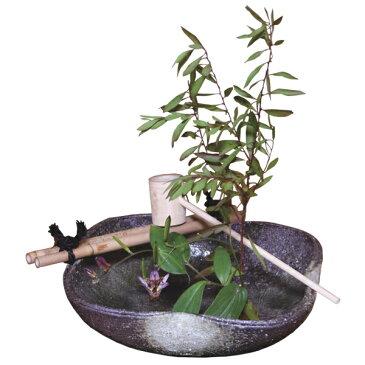 花入 つくばい 花器 花 インテリア 季節 癒し 茶室 手水鉢 陶器 日本製 ひしゃく付 渡し付 剣山付 いぐさ敷付緑釉窯肌つくばい G5-4107