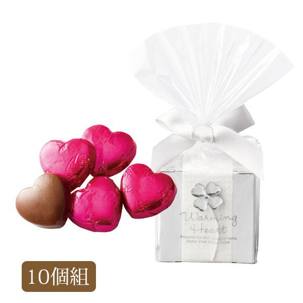 プチギフト お菓子 ハート チョコレート チョコ クリスタル クローバー 結婚式 二次会 イベント パーティー 日本製 クリスタル クローバー ハートチョコ 10個セット OGT864
