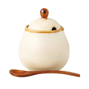 シュガーポット 砂糖入れ 陶器 波佐見焼 日本製 モカ 丸ポット (スプーン付) 13978