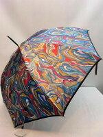【レディース】【日本製】【雨傘】【長傘】【ジャンプ式】甲州産ほぐし織り・墨流し柄ジャンプ式長雨傘