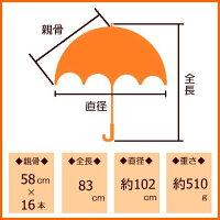 傘レディース雨傘親骨58cm16本骨手開き無地×裏面4色張り分け二重張り手開き式雨傘