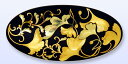 【肥後 象嵌(金細工)】帯留め黒のベースに純金の銀杏をデザインした、豪華な一品[熊本の伝統工...