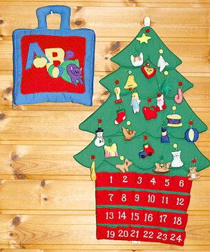 クリスマス布絵本布のアドベント カレンダー壁掛け クリスマスツリーボタンかけオーナメント24個付きmy ABC バッグメリークリスマス ギフトセット2点組み知育選んで!! 無料ギフトラッピング