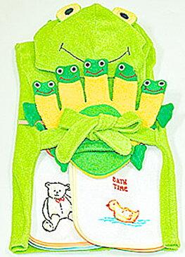 ベビーバスローブご出産祝い内祝いベビークレープコレクションバスローブ&よだれかけ&布おもちゃかえるのバスローブ&ウィークリービブセット&かえるグローブ3点組み選んで!!無料ギフトラッピング