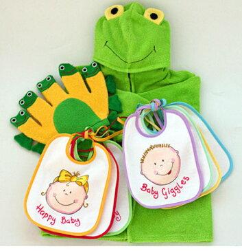 ベビーバスローブご出産祝い内祝いベビークレープコレクションバスローブ&よだれかけ&布玩具かえるのバスローブ&ウィークリービブセット&かえるグローブ3点組み選んで!!無料ギフトラッピング