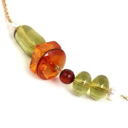 琥珀ネックレスマルチカラー真珠ハート66cmこはくコハクamberjewelleryjewelryaccessories