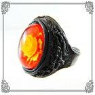 琥珀ルビーレッドアンバーリング指輪18号インタリオバラ楕円【一点物】
