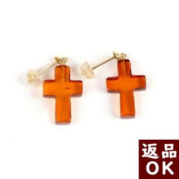 【月1回まで返品送料無料】琥珀 ピアス イヤリング 十字架 レッドアンバー 赤 一点物 琥珀屋
