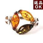 琥珀リング指輪マルチカラー14号シルバー新着商品