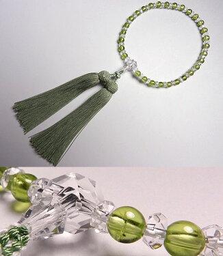 女性用のお数珠水晶切子ペリドットコンビ仕立て