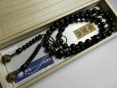 男性用のお数珠黒檀三万浄土共仕立て浄土宗