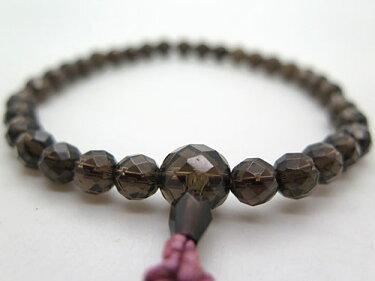 数珠女性用茶水晶切子共仕立て送料無料