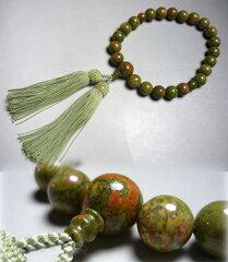 男性用のお数珠 ユナカイト22玉 片手 正絹房 共仕立て