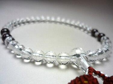 女性用のお数珠水晶108面切子ガーネット4点仕立てエンジ房