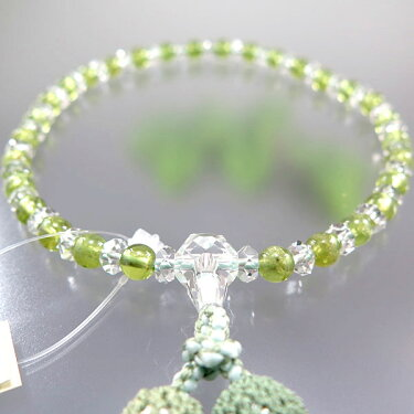 女性用のお数珠水晶切子ペリドットコンビ仕立て4