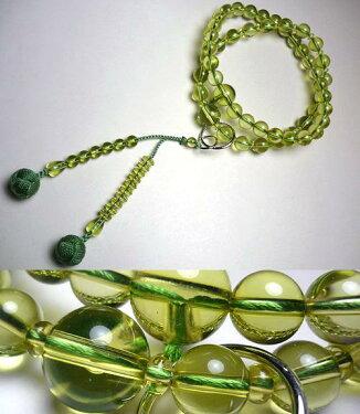 男性用のお数珠グリーン琥珀共仕立て浄土宗砥草房